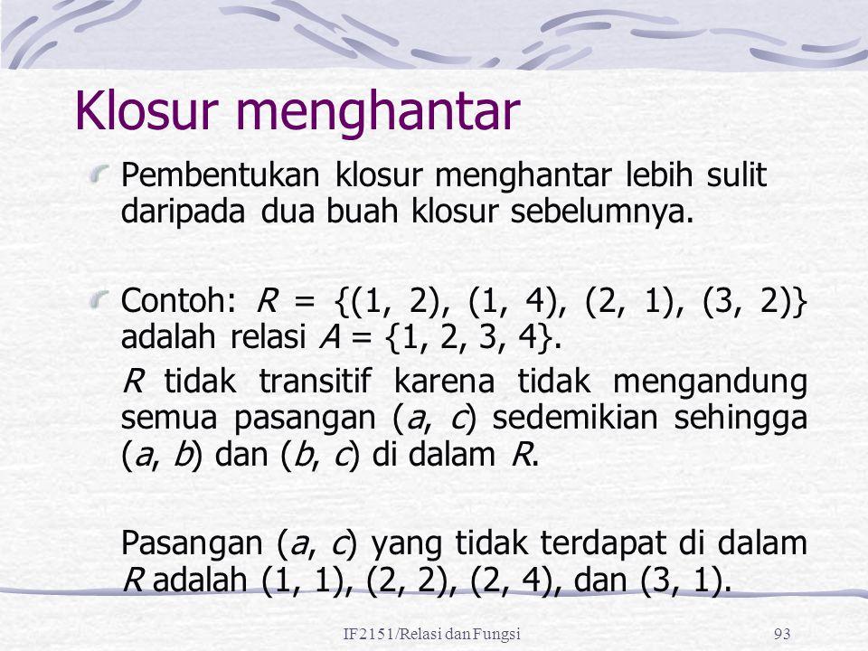IF2151/Relasi dan Fungsi93 Klosur menghantar Pembentukan klosur menghantar lebih sulit daripada dua buah klosur sebelumnya. Contoh: R = {(1, 2), (1, 4