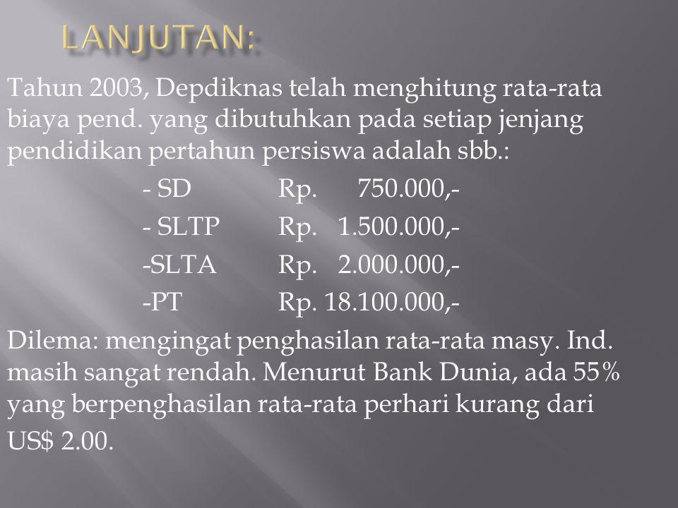 Tahun 2003, Depdiknas telah menghitung rata-rata biaya pend.