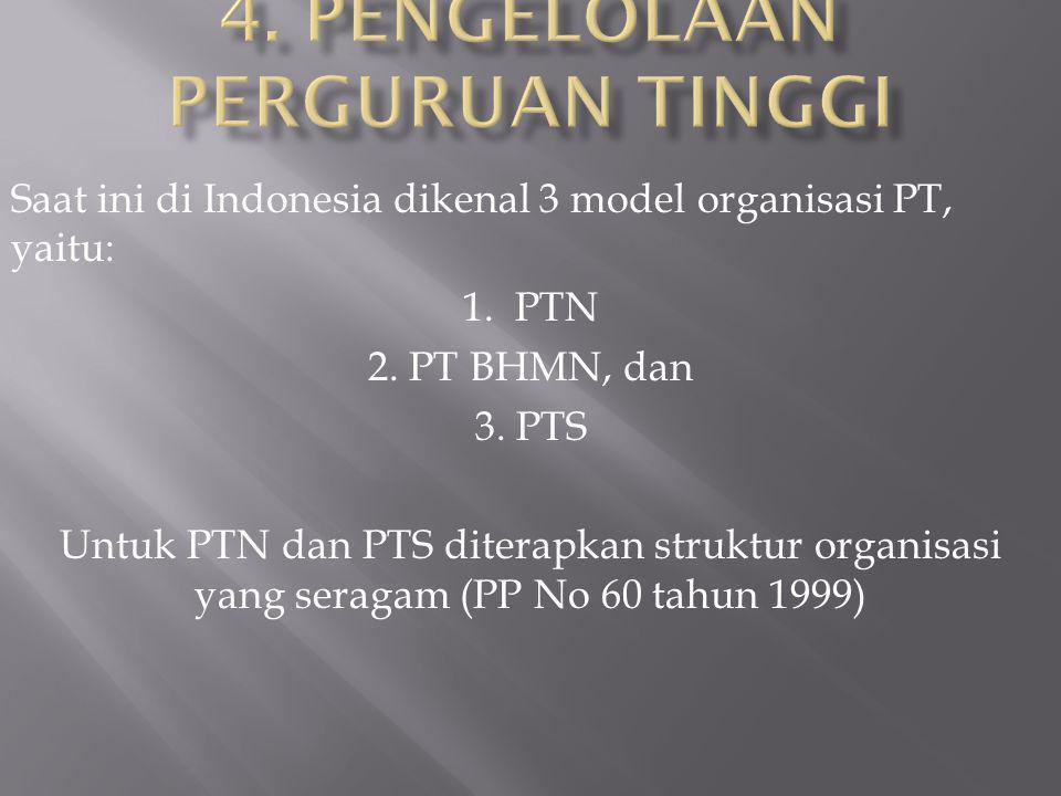 Saat ini di Indonesia dikenal 3 model organisasi PT, yaitu: 1.