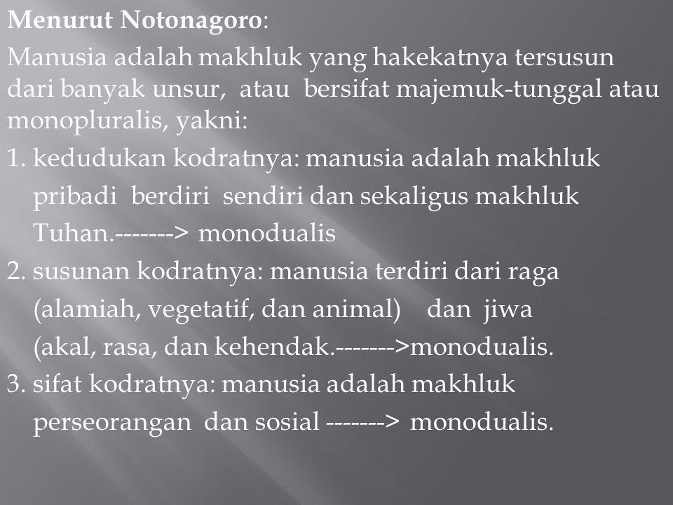 Menurut Notonagoro : Manusia adalah makhluk yang hakekatnya tersusun dari banyak unsur, atau bersifat majemuk-tunggal atau monopluralis, yakni: 1.