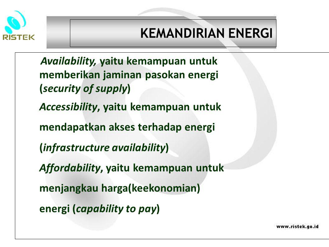 KEMANDIRIAN ENERGI Availability, yaitu kemampuan untuk memberikan jaminan pasokan energi (security of supply) Accessibility, yaitu kemampuan untuk mendapatkan akses terhadap energi (infrastructure availability) Affordability, yaitu kemampuan untuk menjangkau harga(keekonomian) energi (capability to pay)