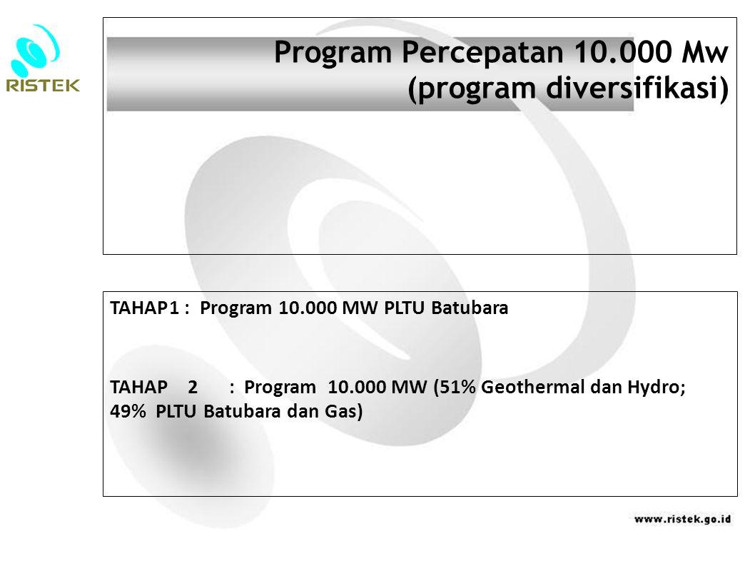 Program Percepatan 10.000 Mw (program diversifikasi) TAHAP1 : Program 10.000 MW PLTU Batubara TAHAP 2 : Program 10.000 MW (51% Geothermal dan Hydro; 49% PLTU Batubara dan Gas)