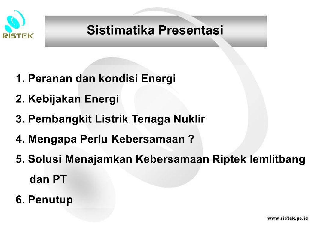 1. Peranan dan kondisi Energi 2. Kebijakan Energi 3. Pembangkit Listrik Tenaga Nuklir 4. Mengapa Perlu Kebersamaan ? 5. Solusi Menajamkan Kebersamaan