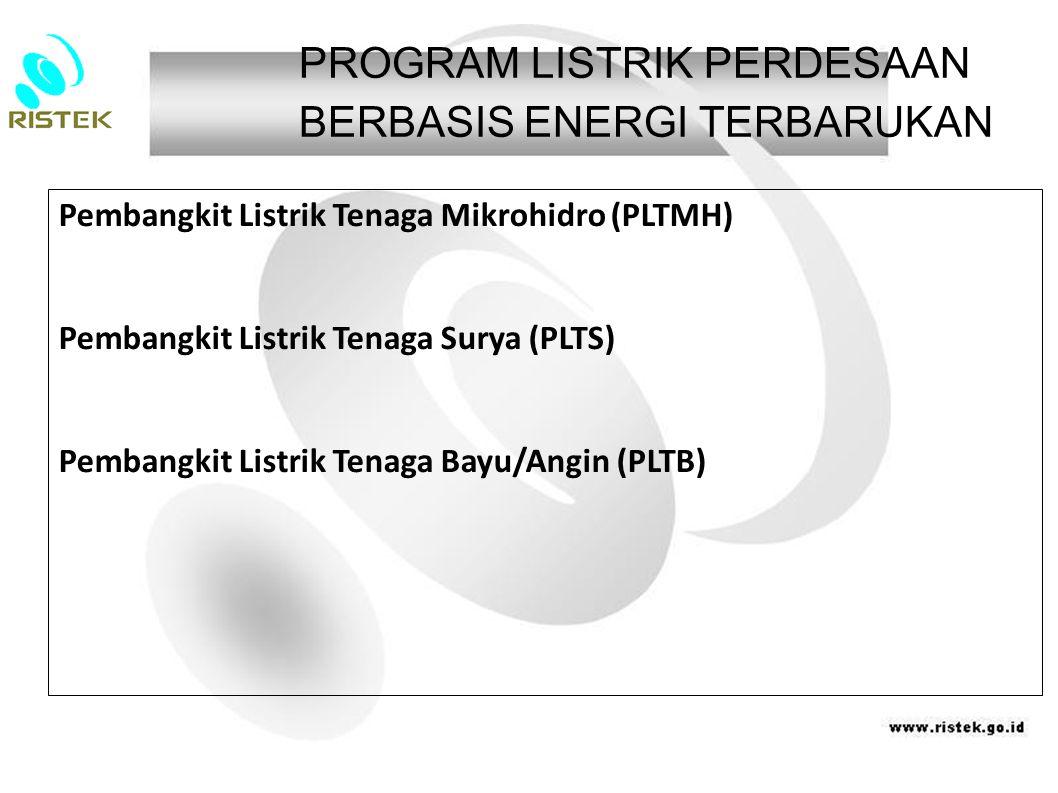 Pembangkit Listrik Tenaga Mikrohidro (PLTMH) Pembangkit Listrik Tenaga Surya (PLTS) Pembangkit Listrik Tenaga Bayu/Angin (PLTB) PROGRAM LISTRIK PERD
