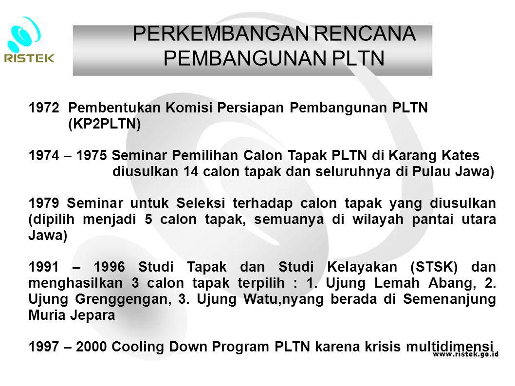 PERKEMBANGAN RENCANA PEMBANGUNAN PLTN 1972 Pembentukan Komisi Persiapan Pembangunan PLTN (KP2PLTN) 1974 – 1975 Seminar Pemilihan Calon Tapak PLTN di