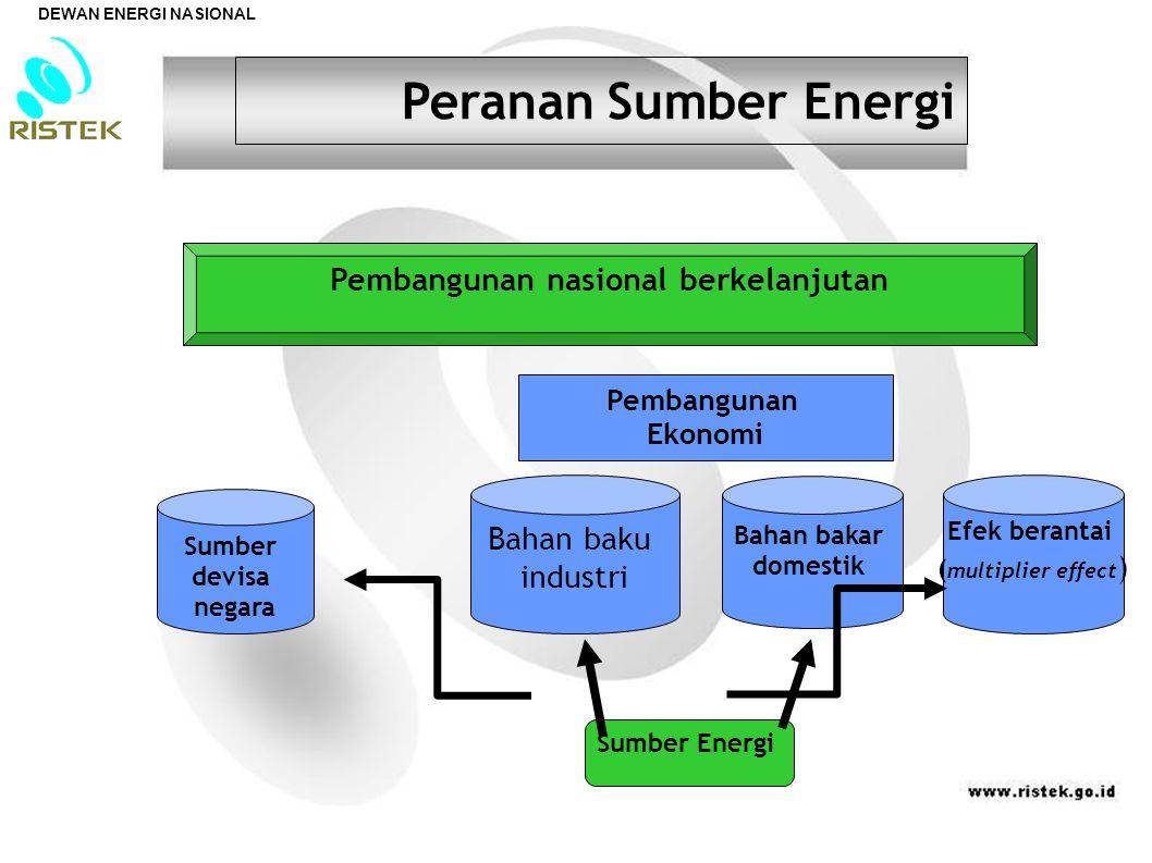 Sumber devisa negara Bahan baku industri Bahan bakar domestik Efek berantai ( multiplier effect )  Sumber Energi Pembangunan nasional berkelanjutan Pembangunan Ekonomi Peranan Sumber Energi DEWAN ENERGI NASIONAL