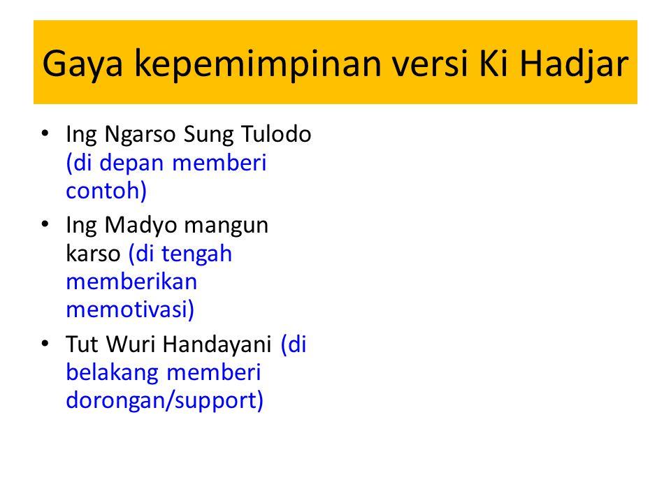 Gaya kepemimpinan versi Ki Hadjar Ing Ngarso Sung Tulodo (di depan memberi contoh) Ing Madyo mangun karso (di tengah memberikan memotivasi) Tut Wuri Handayani (di belakang memberi dorongan/support)