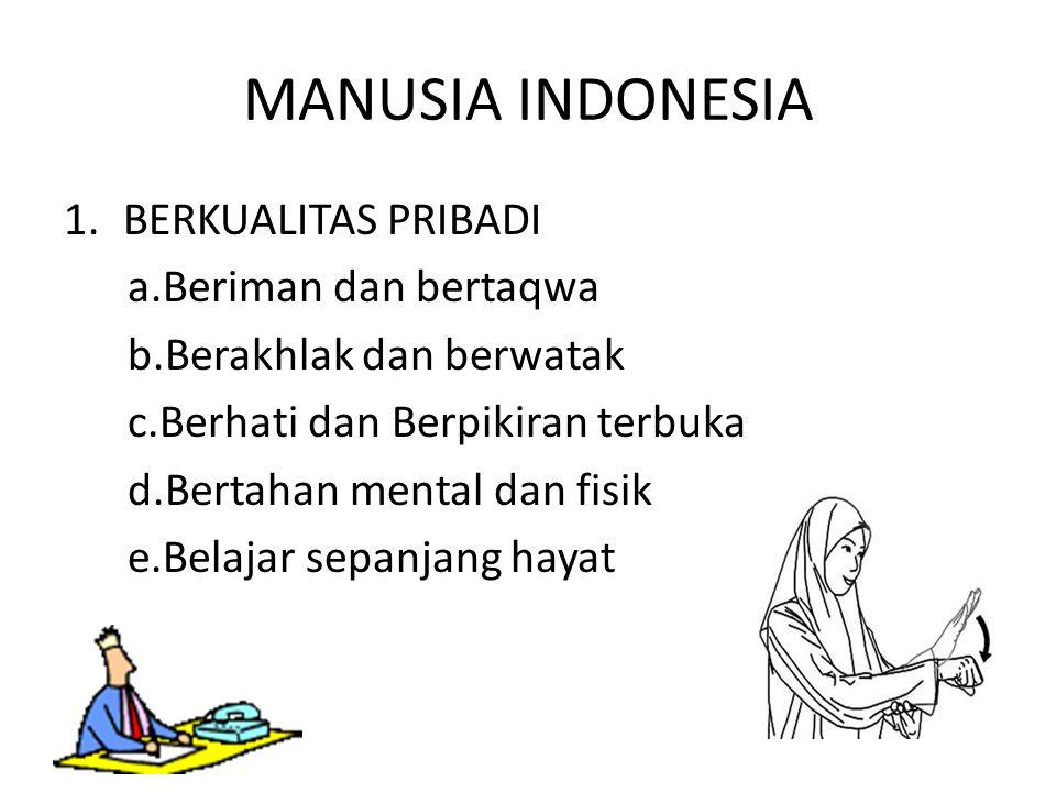 MANUSIA INDONESIA 1.BERKUALITAS PRIBADI a.Beriman dan bertaqwa b.Berakhlak dan berwatak c.Berhati dan Berpikiran terbuka d.Bertahan mental dan fisik e.Belajar sepanjang hayat