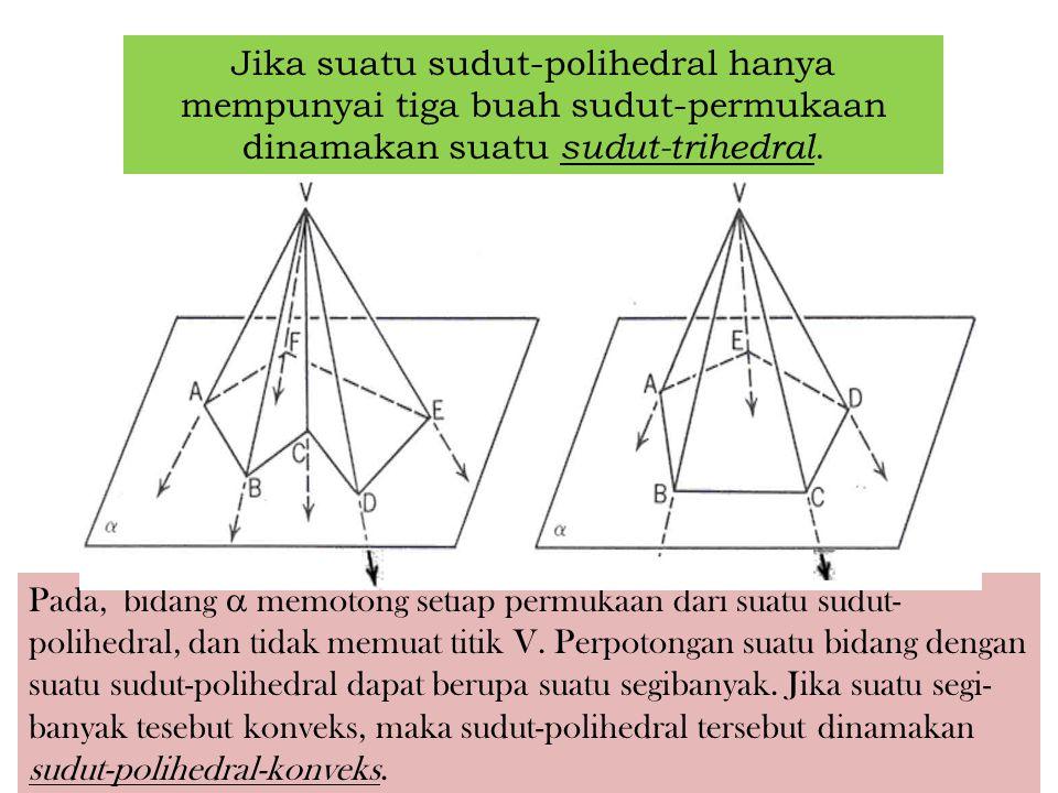 V P1P1 P2P2 P3P3 Suatu sudut-polihedral sekurang-kurang- nya mempunyai tiga buah sudut-permukaan. Mengapa ? Sudut-polihedral VSudut-permukaan V permuk