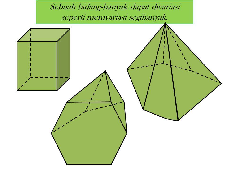 Definisi (Bidang-banyak) Suatu bidang-banyak (polyhedron) adalah gabungan dari sejumlah terhingga (finite) daerah- daerah segibanyak, sedemikian, sehi