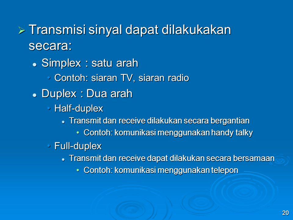 20  Transmisi sinyal dapat dilakukakan secara: Simplex : satu arah Simplex : satu arah Contoh: siaran TV, siaran radioContoh: siaran TV, siaran radio Duplex : Dua arah Duplex : Dua arah Half-duplexHalf-duplex Transmit dan receive dilakukan secara bergantian Transmit dan receive dilakukan secara bergantian Contoh: komunikasi menggunakan handy talkyContoh: komunikasi menggunakan handy talky Full-duplexFull-duplex Transmit dan receive dapat dilakukan secara bersamaan Transmit dan receive dapat dilakukan secara bersamaan Contoh: komunikasi menggunakan teleponContoh: komunikasi menggunakan telepon