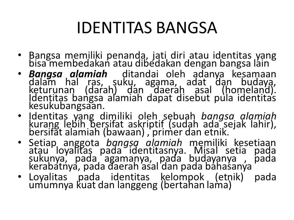 IDENTITAS BANGSA Bangsa memiliki penanda, jati diri atau identitas yang bisa membedakan atau dibedakan dengan bangsa lain Bangsa alamiah ditandai oleh