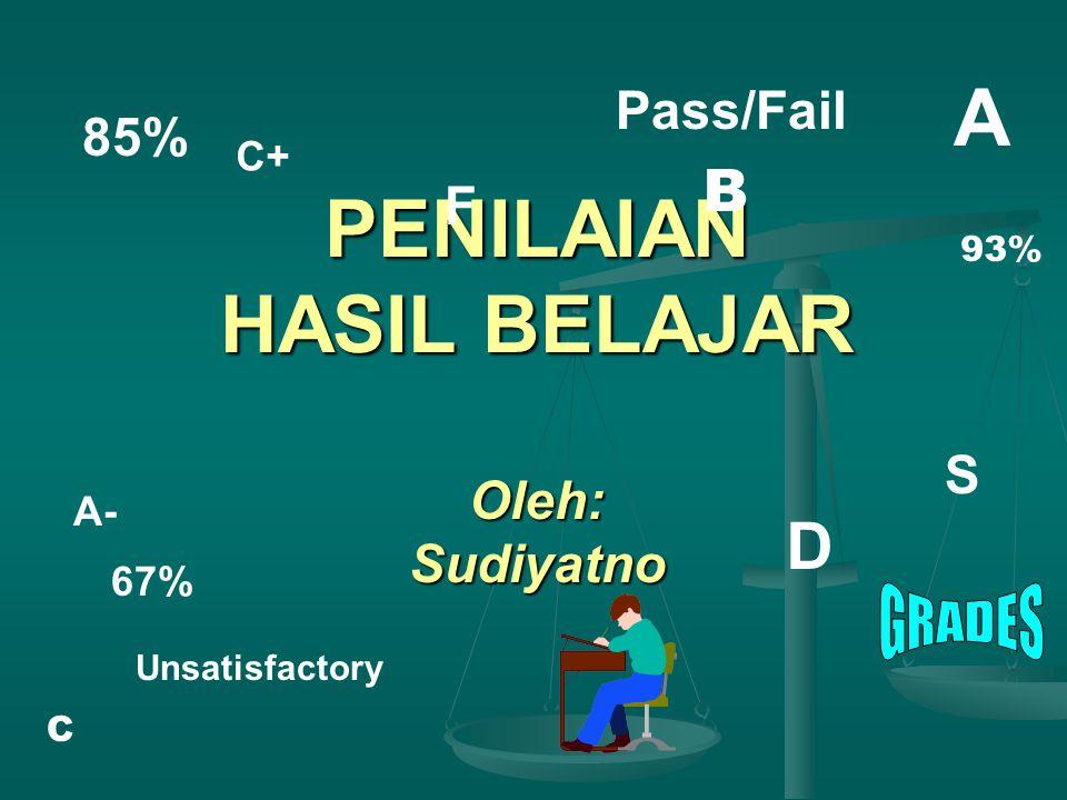 PENILAIAN HASIL BELAJAR Oleh: Sudiyatno C+ Pass/Fail A A- 85% F S Unsatisfactory 67% D C B 93%