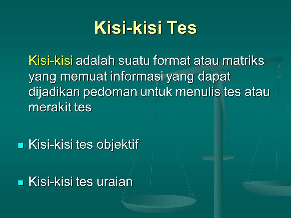 Kisi-kisi Tes Kisi-kisi adalah suatu format atau matriks yang memuat informasi yang dapat dijadikan pedoman untuk menulis tes atau merakit tes Kisi-kisi tes objektif Kisi-kisi tes objektif Kisi-kisi tes uraian Kisi-kisi tes uraian