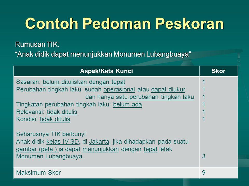 Contoh Pedoman Peskoran Aspek/Kata KunciSkor Sasaran: belum dituliskan dengan tepat Perubahan tingkah laku: sudah operasional atau dapat diukur dan hanya satu perubahan tingkah laku Tingkatan perubahan tingkah laku: belum ada Relevansi: tidak ditulis Kondisi: tidak ditulis Seharusnya TIK berbunyi: Anak didik kelas IV SD, di Jakarta, jika dihadapkan pada suatu gambar (peta ) ia dapat menunjukkan dengan tepat letak Monumen Lubangbuaya.