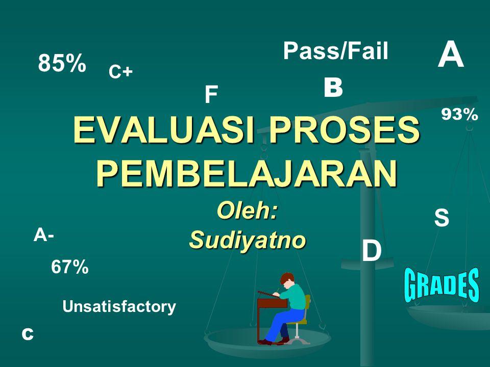 EVALUASI PROSES PEMBELAJARAN Oleh: Sudiyatno C+ Pass/Fail A A- 85% F S Unsatisfactory 67% D C B 93%