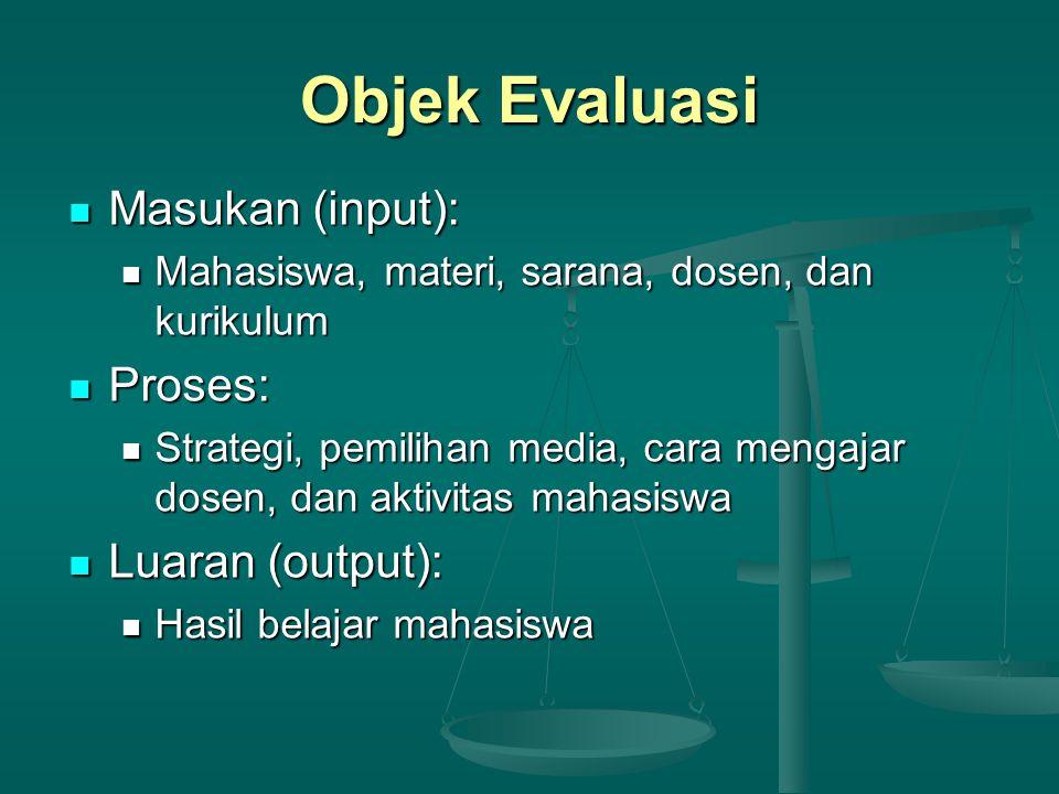 Objek Evaluasi Masukan (input): Masukan (input): Mahasiswa, materi, sarana, dosen, dan kurikulum Mahasiswa, materi, sarana, dosen, dan kurikulum Prose