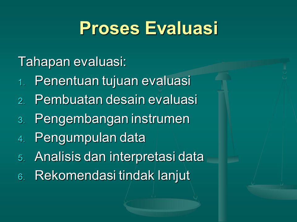 Proses Evaluasi Tahapan evaluasi: 1. Penentuan tujuan evaluasi 2. Pembuatan desain evaluasi 3. Pengembangan instrumen 4. Pengumpulan data 5. Analisis