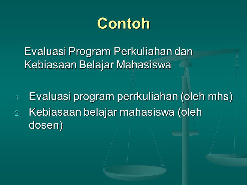 Contoh Evaluasi Program Perkuliahan dan Kebiasaan Belajar Mahasiswa Evaluasi Program Perkuliahan dan Kebiasaan Belajar Mahasiswa 1. Evaluasi program p