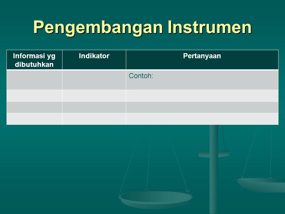 Pengembangan Instrumen Informasi yg dibutuhkan IndikatorPertanyaan Contoh: