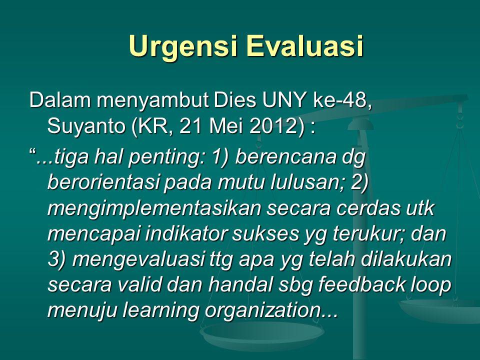 """Urgensi Evaluasi Dalam menyambut Dies UNY ke-48, Suyanto (KR, 21 Mei 2012) : """"...tiga hal penting: 1) berencana dg berorientasi pada mutu lulusan; 2)"""