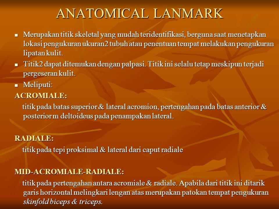 ANATOMICAL LANMARK Merupakan titik skeletal yang mudah teridentifikasi, berguna saat menetapkan lokasi pengukuran ukuran2 tubuh atau penentuan tempat