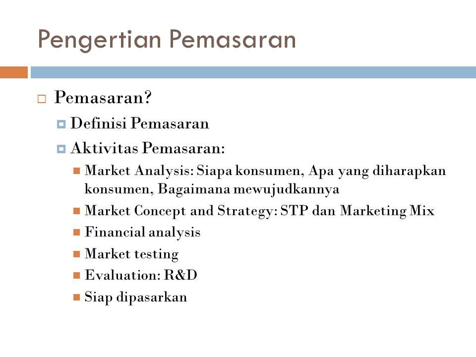 Pengertian Pemasaran  Pemasaran?  Definisi Pemasaran  Aktivitas Pemasaran: Market Analysis: Siapa konsumen, Apa yang diharapkan konsumen, Bagaimana