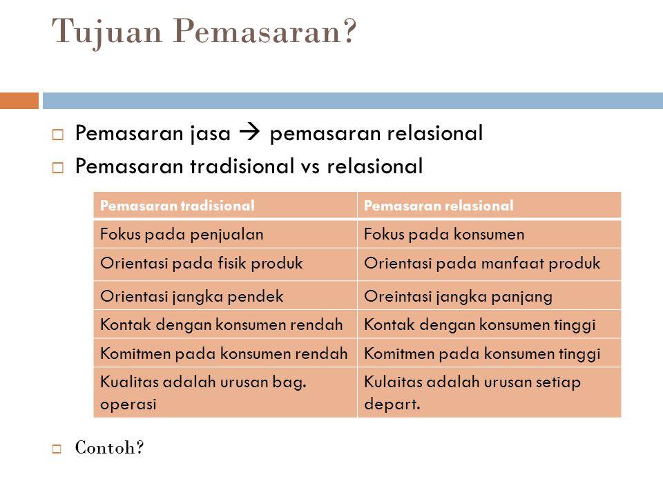 Tujuan Pemasaran?  Pemasaran jasa  pemasaran relasional  Pemasaran tradisional vs relasional  Contoh? Pemasaran tradisionalPemasaran relasional Fo