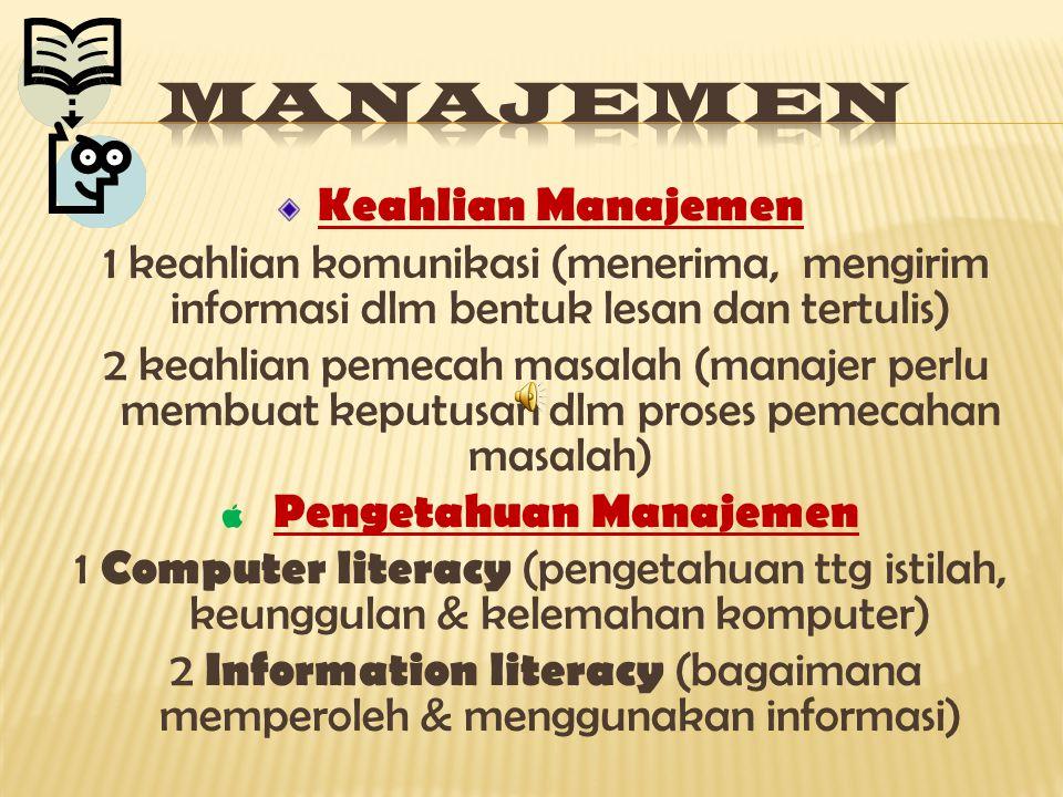 Fungsi-funsi manajemen dan peran – peran manajerial ini akan bermanfaat saat merancang sistem informasi