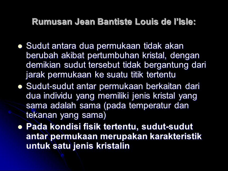 Rumusan Jean Bantiste Louis de l'Isle: Sudut antara dua permukaan tidak akan berubah akibat pertumbuhan kristal, dengan demikian sudut tersebut tidak