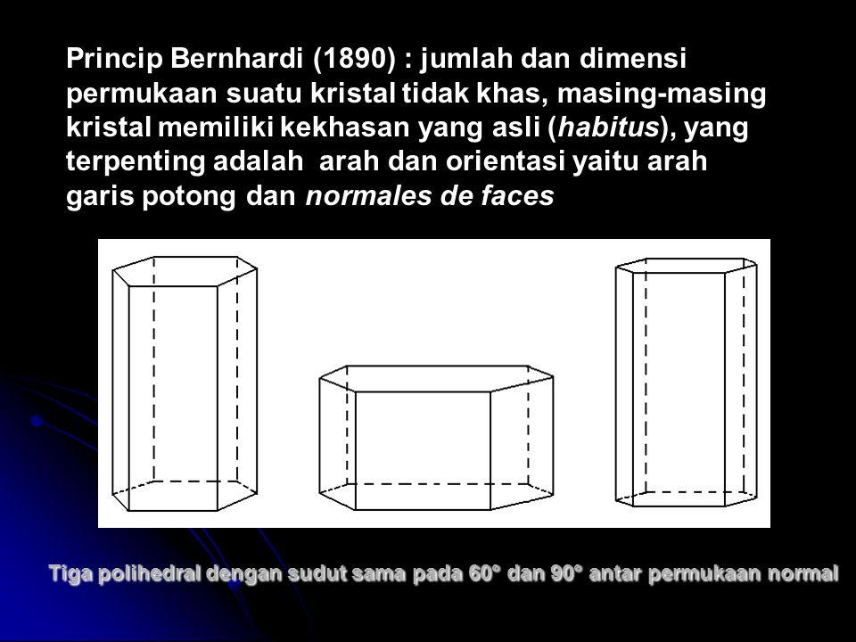 Tiga polihedral dengan sudut sama pada 60° dan 90° antar permukaan normal Princip Bernhardi (1890) : jumlah dan dimensi permukaan suatu kristal tidak khas, masing-masing kristal memiliki kekhasan yang asli (habitus), yang terpenting adalah arah dan orientasi yaitu arah garis potong dan normales de faces