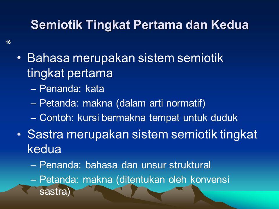 Semiotik Tingkat Pertama dan Kedua 16 Bahasa merupakan sistem semiotik tingkat pertama –Penanda: kata –Petanda: makna (dalam arti normatif) –Contoh: k