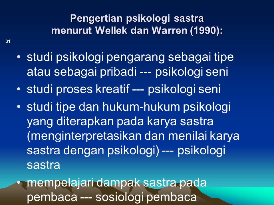 Pengertian psikologi sastra menurut Wellek dan Warren (1990): 31 studi psikologi pengarang sebagai tipe atau sebagai pribadi --- psikologi seni studi