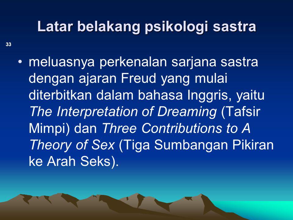 Latar belakang psikologi sastra 33 meluasnya perkenalan sarjana sastra dengan ajaran Freud yang mulai diterbitkan dalam bahasa Inggris, yaitu The Inte
