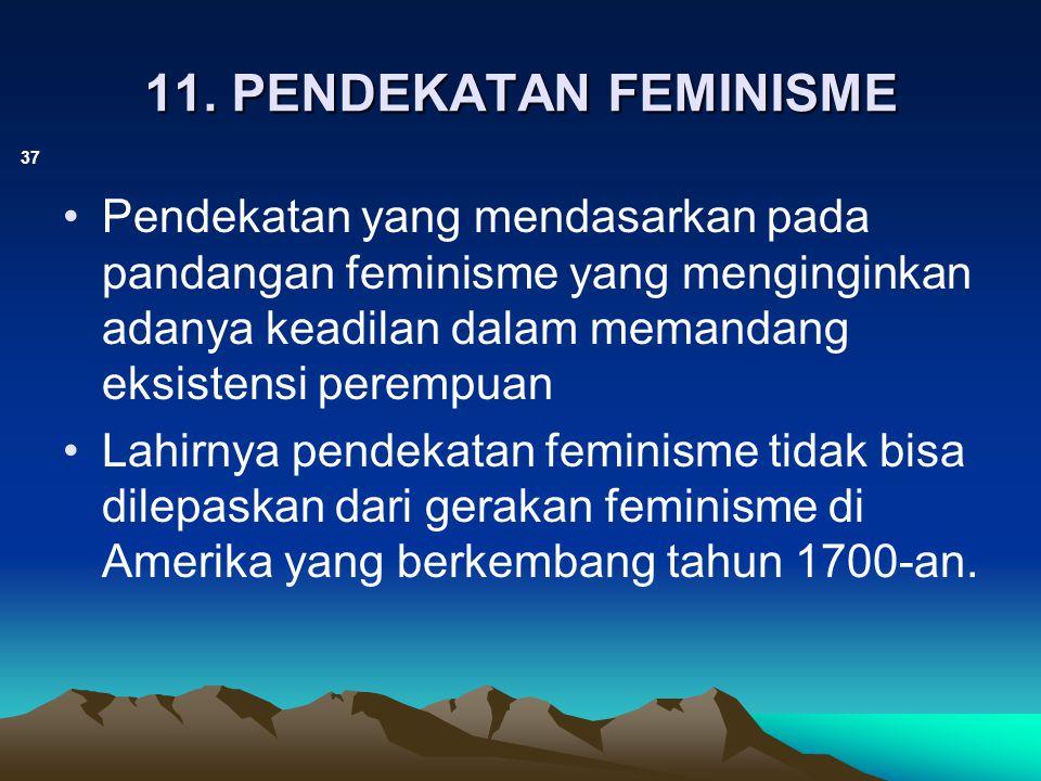 11. PENDEKATAN FEMINISME 37 Pendekatan yang mendasarkan pada pandangan feminisme yang menginginkan adanya keadilan dalam memandang eksistensi perempua