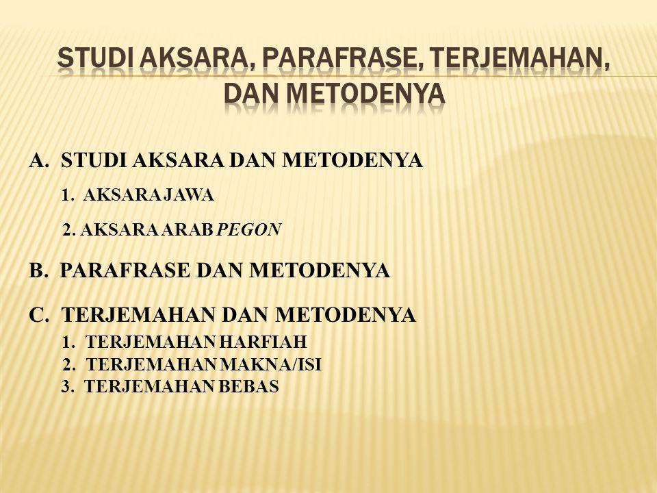 A. STUDI AKSARA DAN METODENYA 1. AKSARA JAWA 2. AKSARA ARAB PEGON B. PARAFRASE DAN METODENYA C. TERJEMAHAN DAN METODENYA 1. TERJEMAHAN HARFIAH 2. TERJ