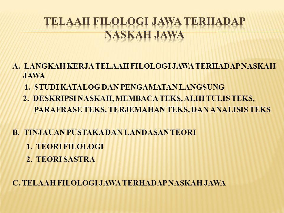 A. LANGKAH KERJA TELAAH FILOLOGI JAWA TERHADAP NASKAH JAWA 1. STUDI KATALOG DAN PENGAMATAN LANGSUNG 2. DESKRIPSI NASKAH, MEMBACA TEKS, ALIH TULIS TEKS
