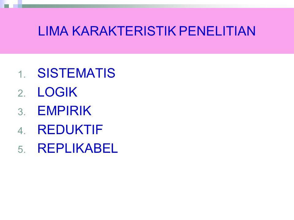LIMA KARAKTERISTIK PENELITIAN 1. SISTEMATIS 2. LOGIK 3. EMPIRIK 4. REDUKTIF 5. REPLIKABEL