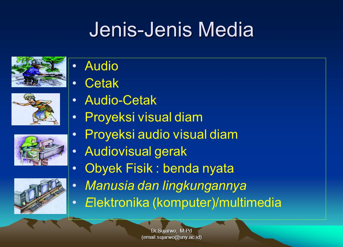 Dr.Sujarwo, M.Pd (email:sujarwo@uny.ac.id) TREND MEDIA Digital video interactive Desktop publishing Digital audio Virtual reality CD-ROM Media Gerak (film) Text (buku) Audio phonograph Obyek ( benda nyata, model ) Visual (photo, slide, film strip) 1950 1980 Saat ini