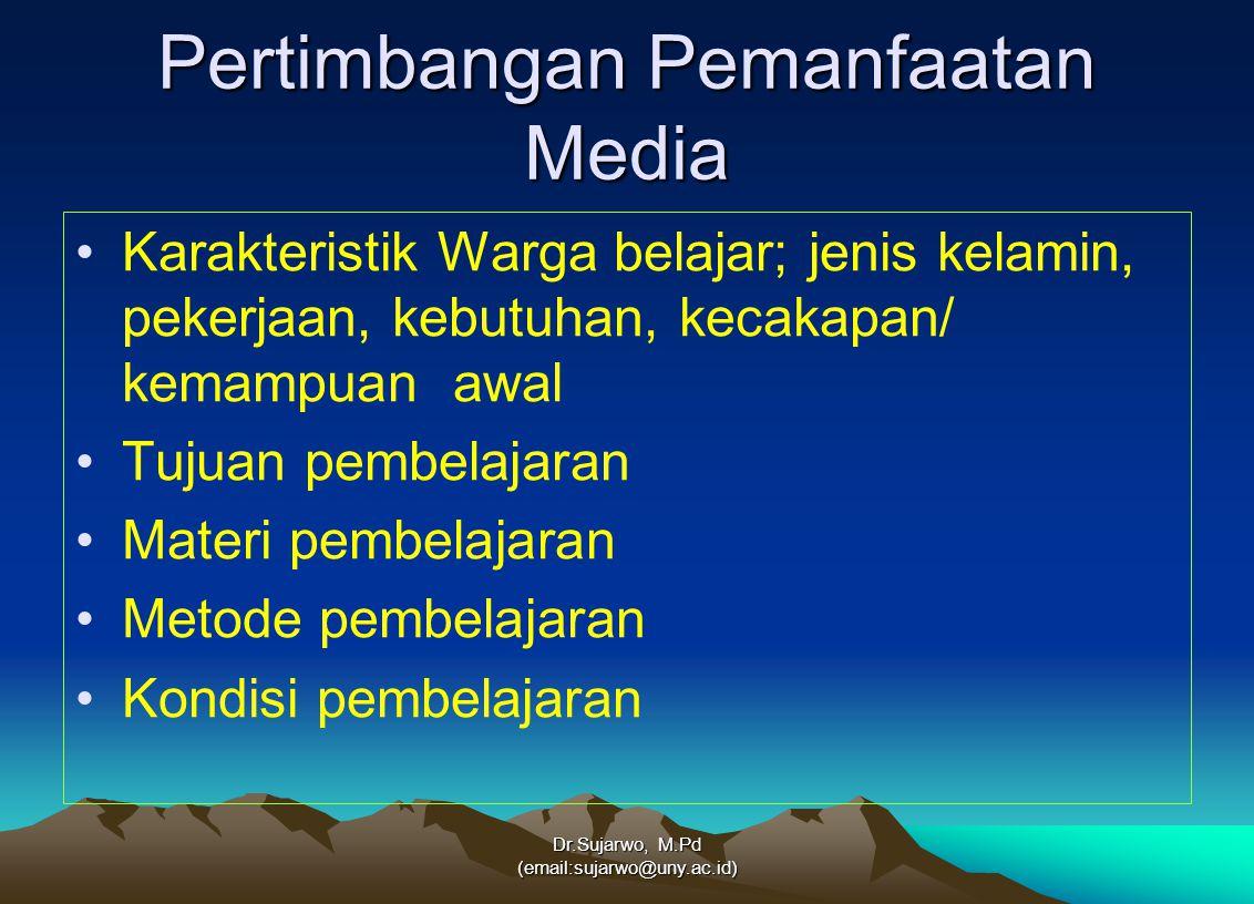 Alur pemanfaatan media Dr.Sujarwo, M.Pd (email:sujarwo@uny.ac.id) Media KarakteristikTujuan pemb.Materi pemb.Metode pemb.kondisi pemb.