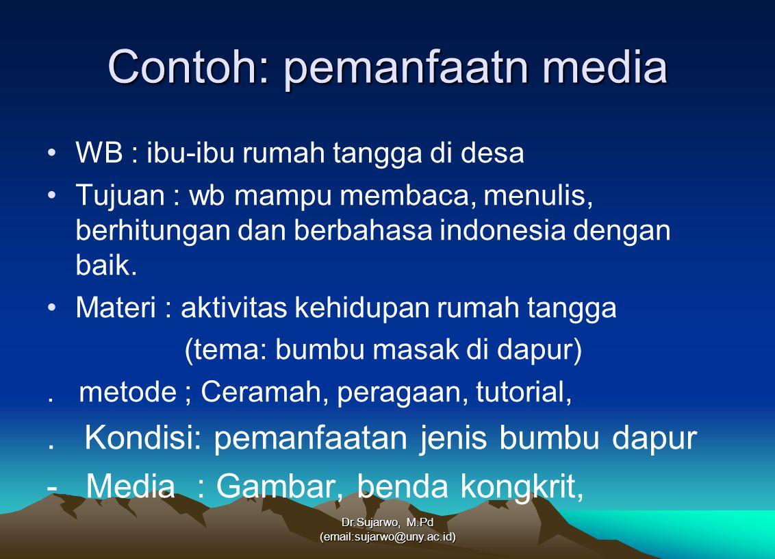 Dr.Sujarwo, M.Pd (email:sujarwo@uny.ac.id) Contoh: pemanfaatn media WB : ibu-ibu rumah tangga di desa Tujuan : wb mampu membaca, menulis, berhitungan