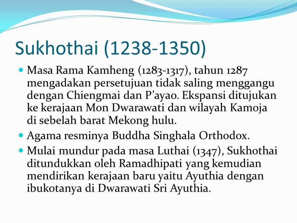 Sukhothai (1238-1350) Masa Rama Kamheng (1283-1317), tahun 1287 mengadakan persetujuan tidak saling menggangu dengan Chiengmai dan P'ayao. Ekspansi di