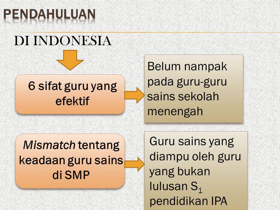 6 sifat guru yang efektif Mismatch tentang keadaan guru sains di SMP Belum nampak pada guru-guru sains sekolah menengah Guru sains yang diampu oleh guru yang bukan lulusan S 1 pendidikan IPA DI INDONESIA