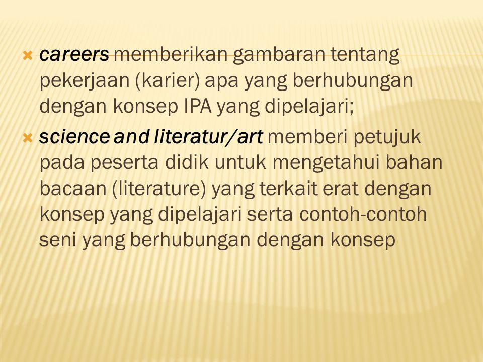  careers memberikan gambaran tentang pekerjaan (karier) apa yang berhubungan dengan konsep IPA yang dipelajari;  science and literatur/art memberi petujuk pada peserta didik untuk mengetahui bahan bacaan (literature) yang terkait erat dengan konsep yang dipelajari serta contoh-contoh seni yang berhubungan dengan konsep