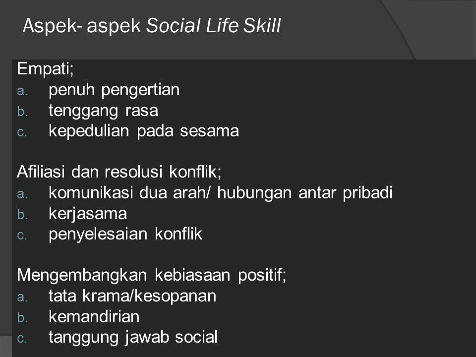 Aspek- aspek Social Life Skill Empati; a. penuh pengertian b. tenggang rasa c. kepedulian pada sesama Afiliasi dan resolusi konflik; a. komunikasi dua