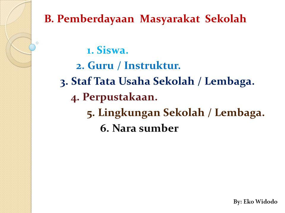 B.Pemberdayaan Masyarakat Sekolah 1. Siswa. 2. Guru / Instruktur.