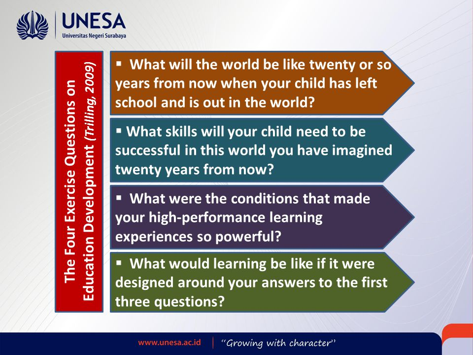  What will the world be like twenty or so years from now when your child has left school and is out in the world?  What skills will your child need
