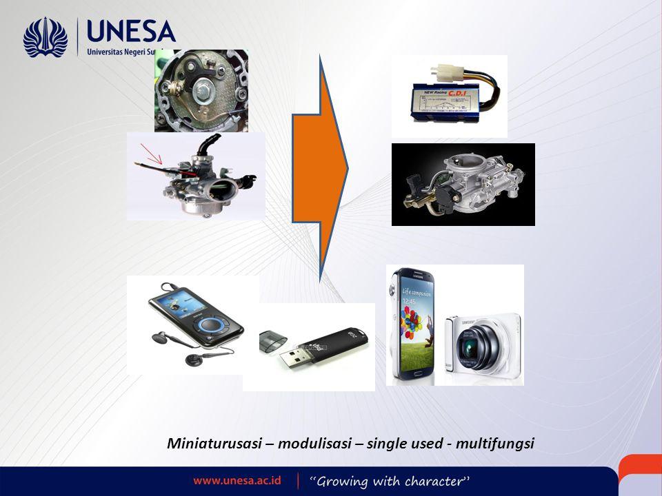 Miniaturusasi – modulisasi – single used - multifungsi