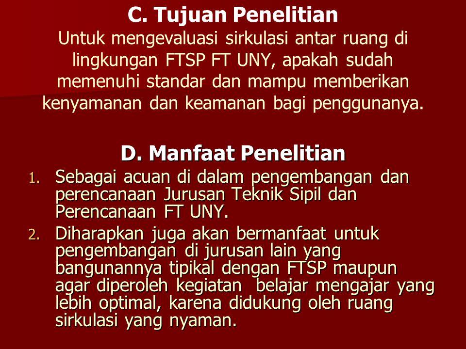 C. Tujuan Penelitian Untuk mengevaluasi sirkulasi antar ruang di lingkungan FTSP FT UNY, apakah sudah memenuhi standar dan mampu memberikan kenyamanan