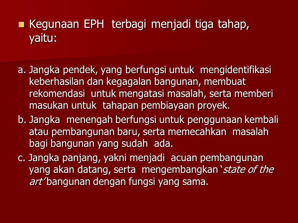 Kegunaan EPH terbagi menjadi tiga tahap, yaitu: Kegunaan EPH terbagi menjadi tiga tahap, yaitu: a. Jangka pendek, yang berfungsi untuk mengidentifikas